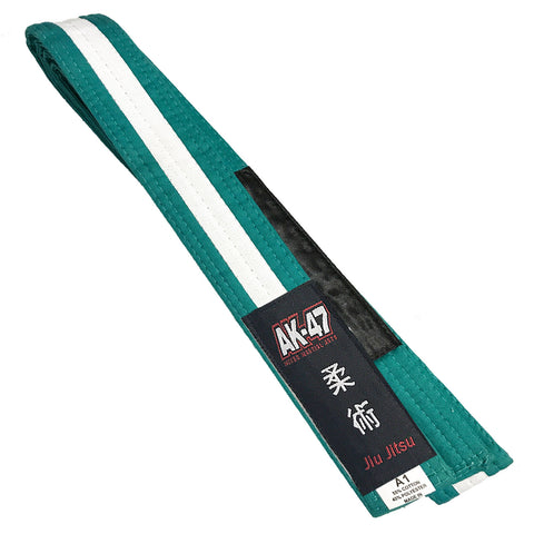 AK-47 Kids Jiu Jitsu Belt Green w White Stripe