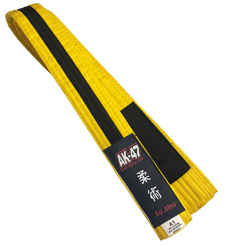 AK-47 Kids Jiu Jitsu Belt Yellow w Black Stripe
