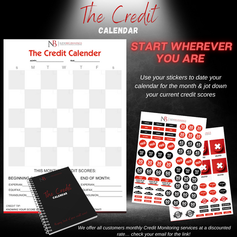 credit planner with stickers