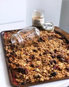 Big Spoon Roasters Almond Coconut Butter Granola freshly baked on a pan