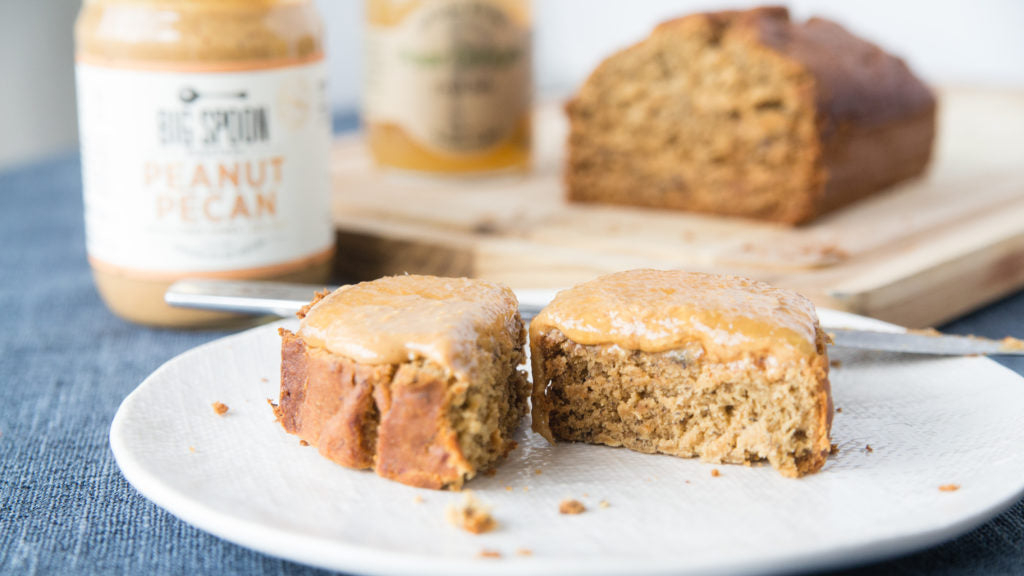 Gluten Free Banana Bread topped with Peanut Pecan Butter & Pear Ginger Jam