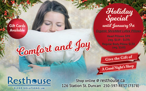Comfort and Joy! Give the Gift of a Good Night's Sleep from Resthouse Sleep Solutions