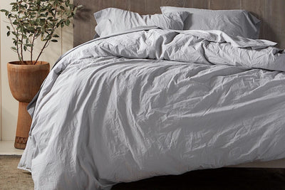 Organic Crinkled Percale Duvet Cover by Coyuchi - Organic Percale Duvets