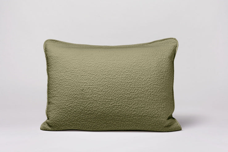 Coyuchi's Cascade Matelasse shams have a light, lofty feel with an allover stitched texture.
