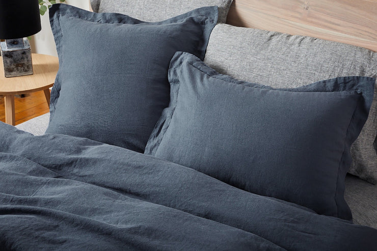 Pillow shams are made from organic, sustainably grown linen from France and woven in Portugal