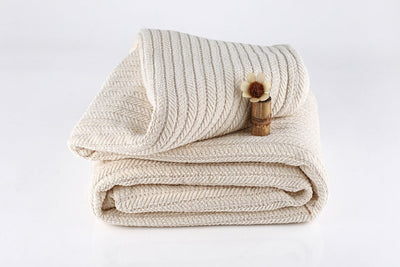 Striped Organic Cotton Chenille Herringbone Blanket by Naturesoft