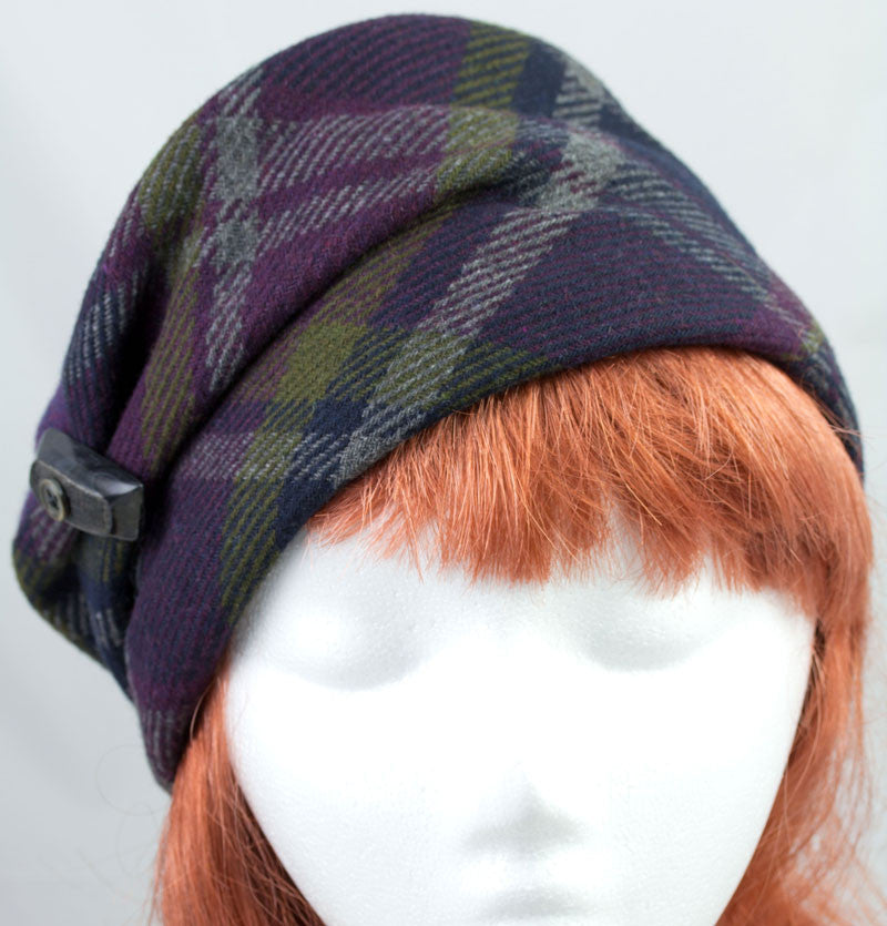 Hunters plaid purple and green wool slouchy pillbox hat