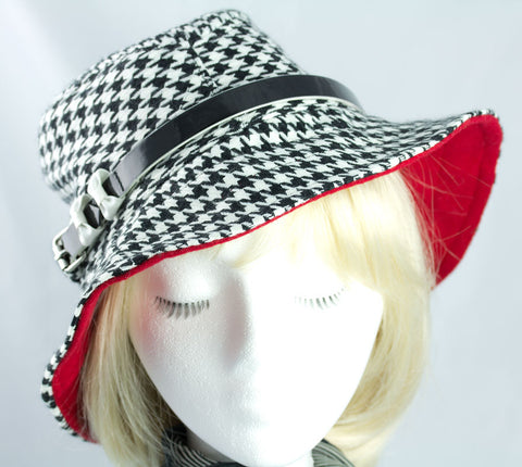 Women's Floppy Fedora in Black & White Hounds Tooth Check| Wide Brim Red Liner