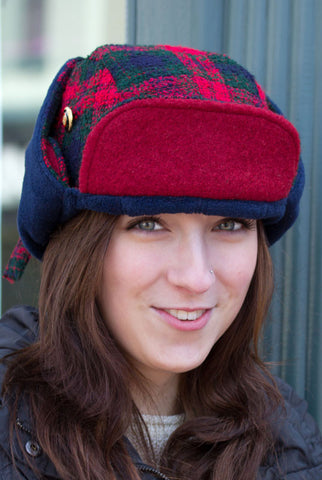 Womens Lumberjack Chic Trapper Hat with Ear Flaps | Red Tartan Plaid Wool Hat | Bomber Biker Hat