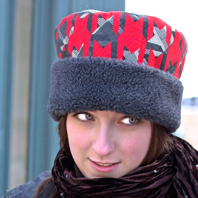 Warm winter hat for women cuffed pillbox in red and grey