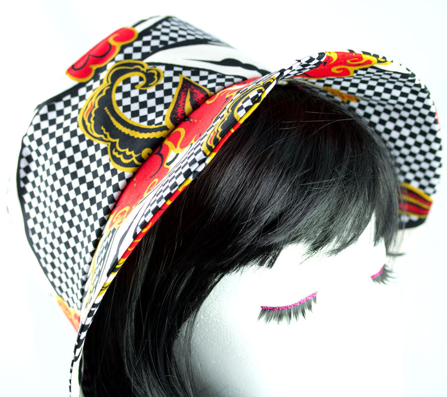 Bucket Hat for Women Floral checked cotton duck fabric - reversible too