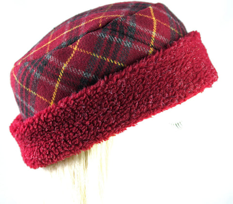 Warm Wool Women's Hat | Burgundy Plaid Wool with Fleece Brim| Cuffed Cloche Roll-up Pillbox