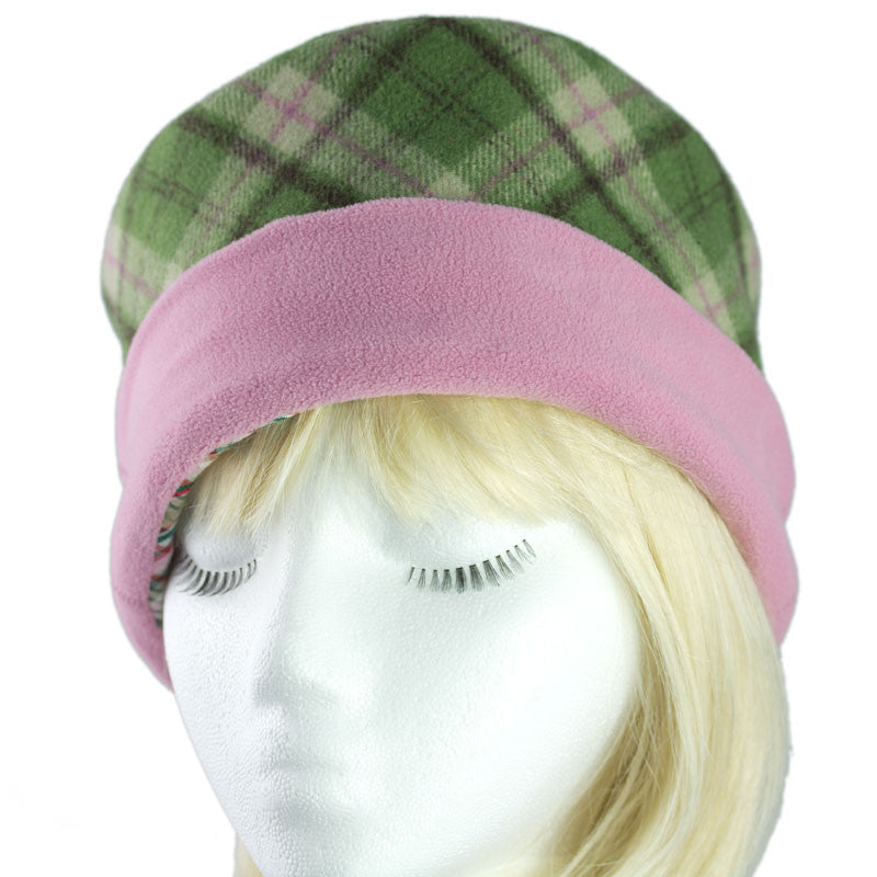 Womens winter hat in wool - Green windowpane plaid with pink