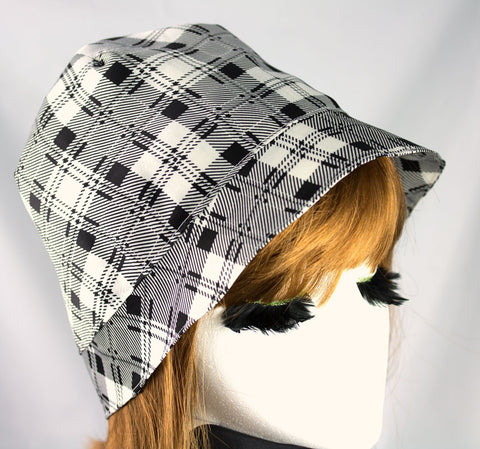 Silky Summer Hat in Black and White Glen Plaid | Sheer Light Weight Cloche | Custom XS to XXL