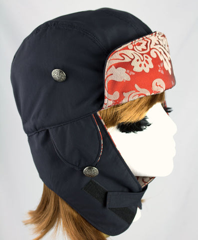 Black Biker Hat | Lumberjack Style with Ear Flaps | Black & Harley Orange