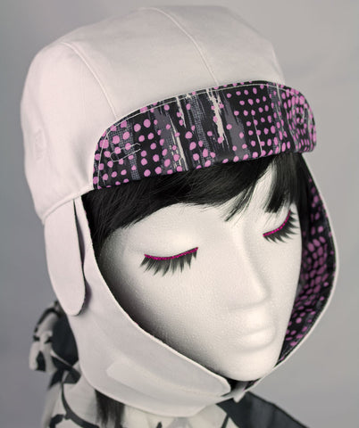 Cool White Biker Hat with Earflaps for Commuting, Biking. Reversible