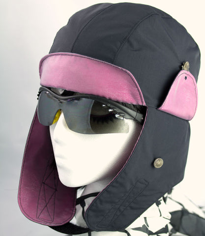 Biker Hat for Women | Black & Hot Pink Motorcycle Hat | Biking Cap with Zipped Pocket & Cool Liner | Reversible