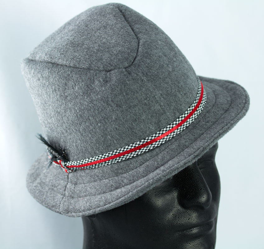 Mens grey fedora homburg hat handmade light gray