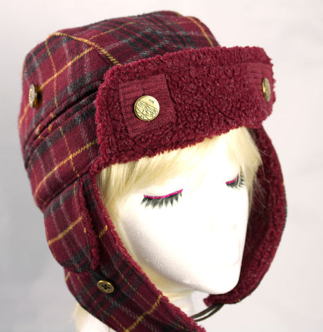 Plaid Lumberjack Trapper Hat with Earflaps - Burgundy Bomber Aviator Biker Hats for Winter