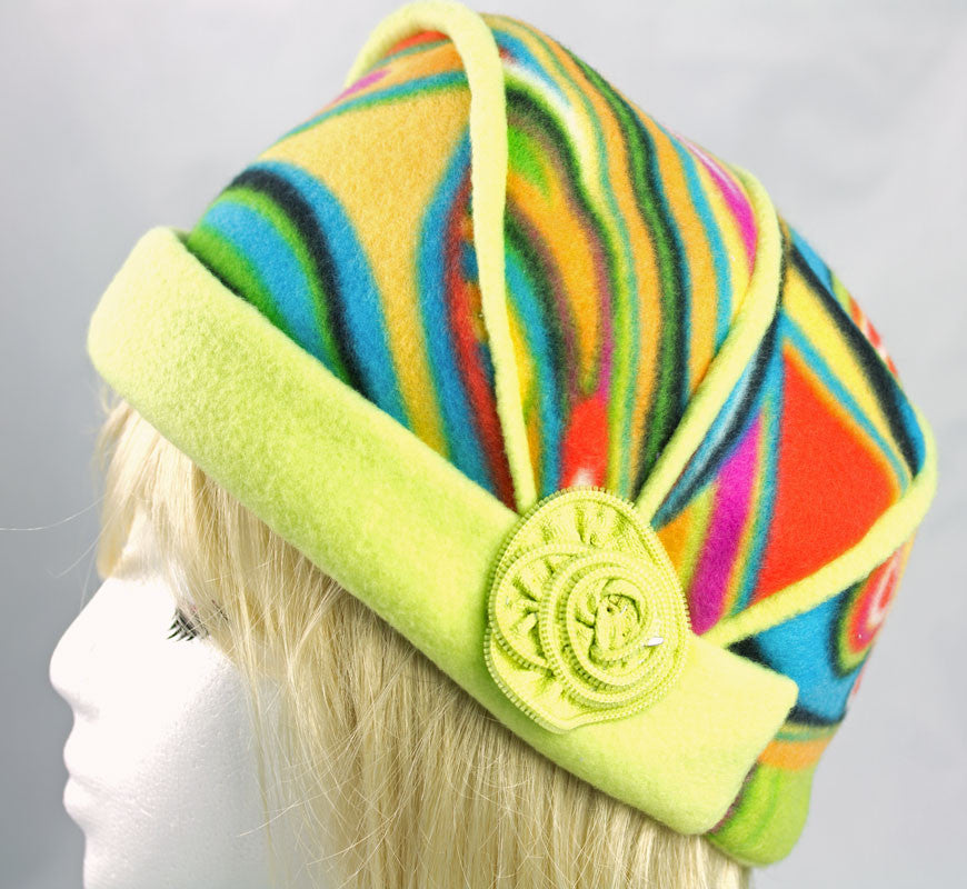 Rainbow Fleece Cloche Hat with Lime Green Cuffed Brim