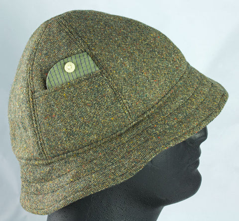 Dusky Green Donegal Tweed Six Panel Hat | Bucket Hat with Short Brim | British Walking Hat
