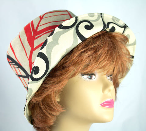 Reversible Cotton Beach Hat | Bold Graphics on Neutral Color Red Black Beige and Bold