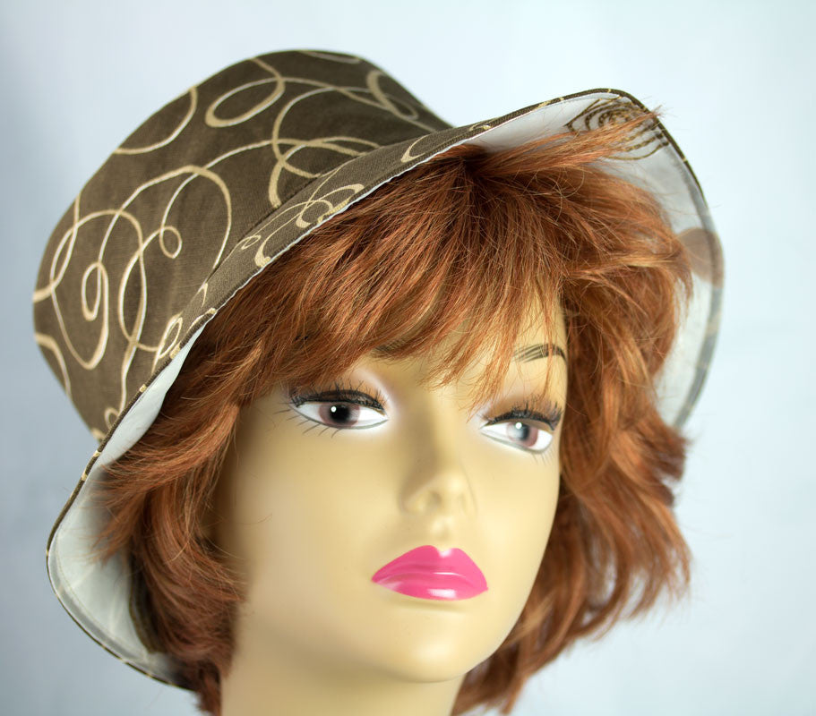 Womens brown bucket hat for summer beach and party