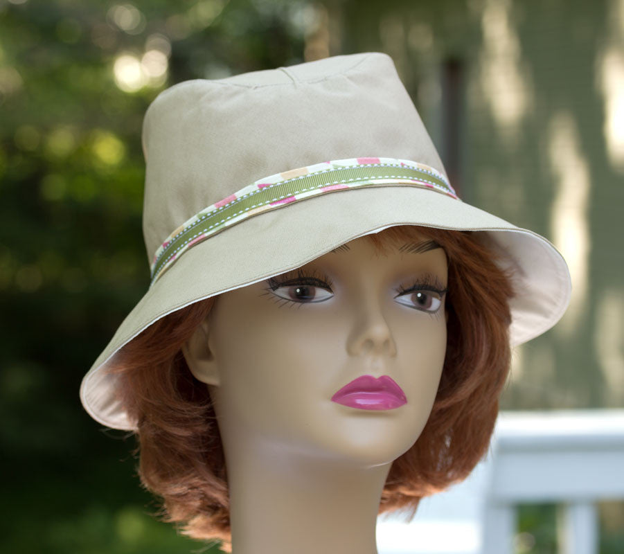 Large cotton floppy summer hat in neutral colors