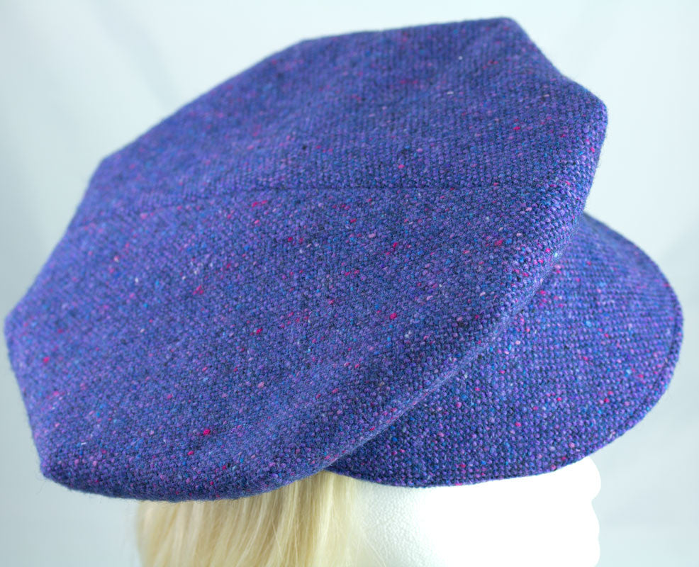 Blue-purple periwinkle. Vintage Donegal tweed. Deconstructed overcoat refashioned into a newsboy hat for women.