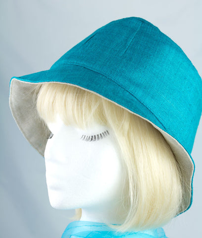 Turquoise Blue Linen Bucket Hat | Reversible Beige Linen Embroidered with Summer Flowers | Spring Summer Cloche Hat | Narrow Brim Hat Large