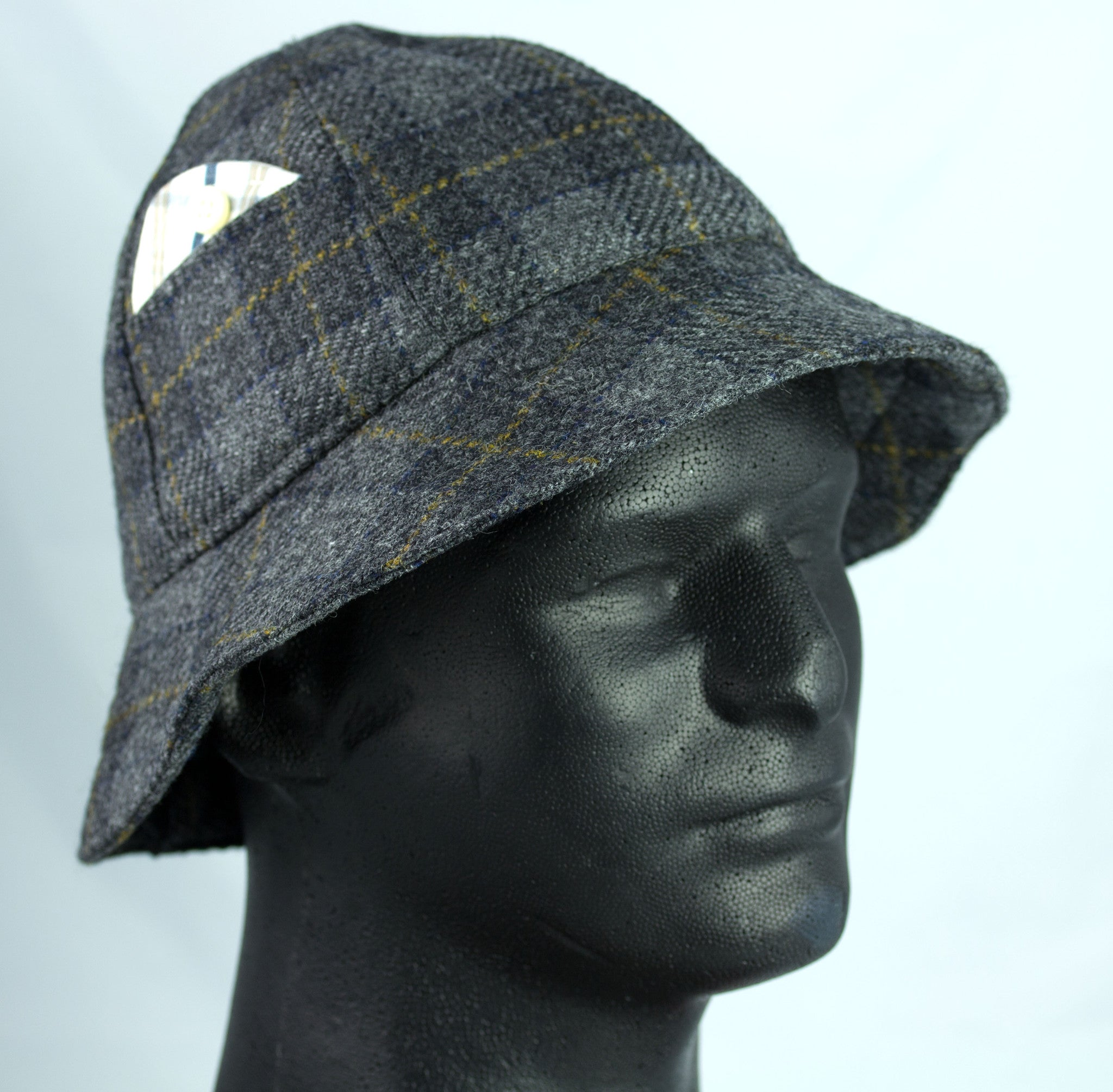 Grey tweed six panel brimmed hat pith helmet style