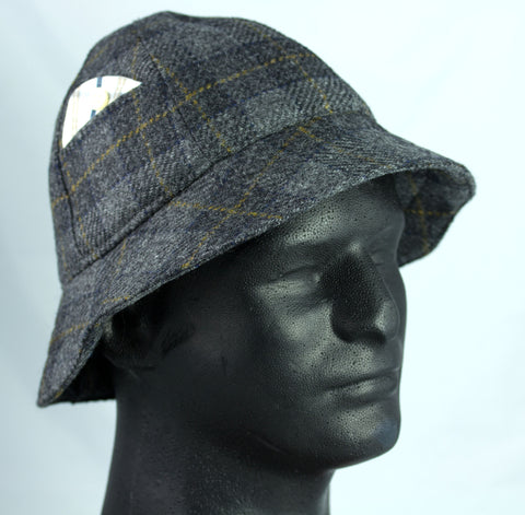 Mens Six Panel Bucket Hat in Grey Plaid Fine English Wool | Pith Helmet | Custom S to XXL