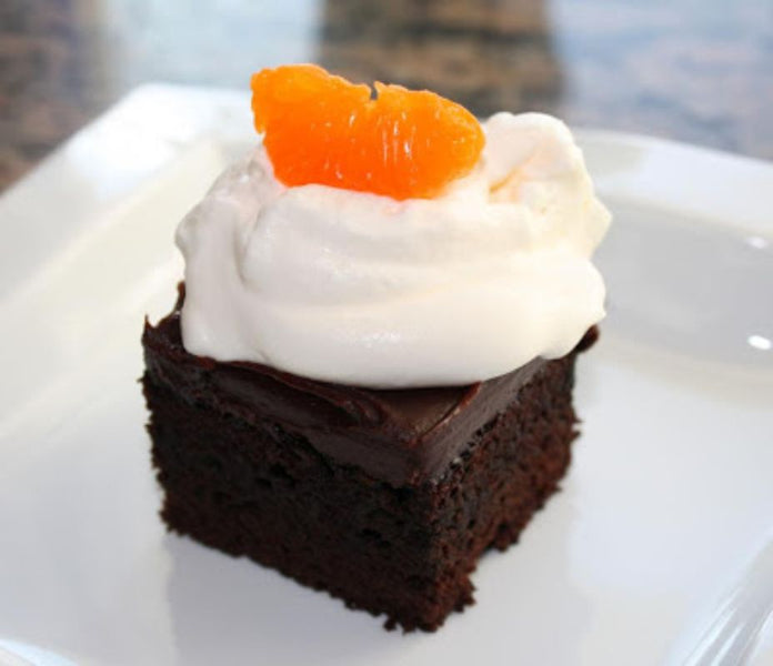 DARK CHOCOLATE-BLOOD ORANGE AGRUMATO CAKE WITH BLOOD ORANGE GANACHE