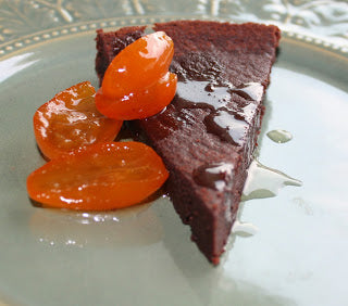 Almost flour less Dark Chocolate Blood Orange Olive Oil Cake