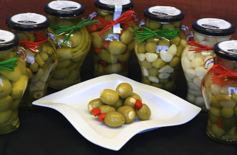 Olives: Garlic, Rosemary, and Manzanillo Whole Olives