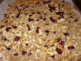 Cranberry, Coconut, Cashew Granola with Persian Lime Olive Oil and Coconut White Balsamic Reduction