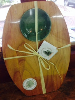 Bread Board with Dipping Bowl- Green
