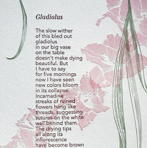 Gladiolus, hand-pressed, broadside, poetry, Ruminate Mag
