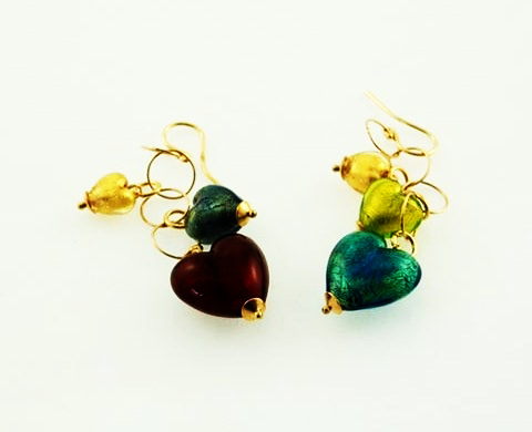 Murano Glass Hearts of Venice Earrings Gold