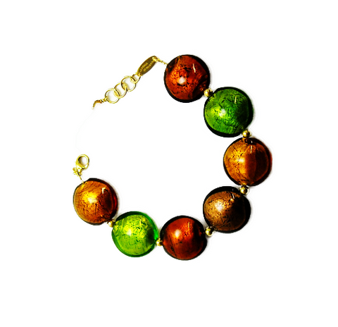'Earth' Bracelet with Gilded Beads