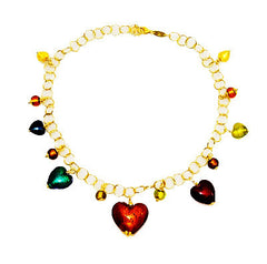 Murano Glass Hearts of Venice Gold