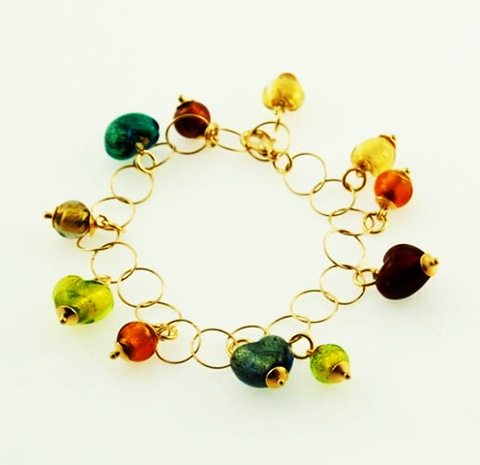 Murano Glass Bracelet Hearts of Venice Gold