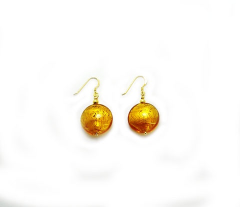'Fire' Earrings with Gilded Beads