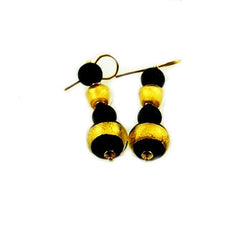 Murano Glass Dogaressa Earrings Black-Gold