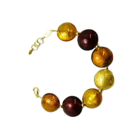'Fire' Bracelet with Gilded Beads
