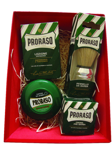 4 Piece Proraso Shaving Gift Set for Men - Includes Shaving Brush, Pre-Shave Cream, Shaving Soap & After Shave Lotion