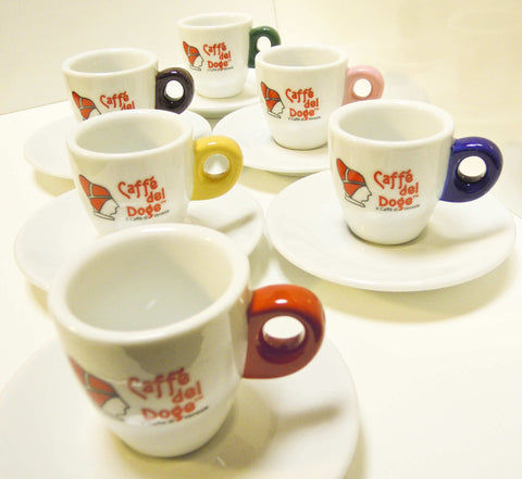Caffe del Doge Coloured Espresso Cups & Saucers (Set of 6)