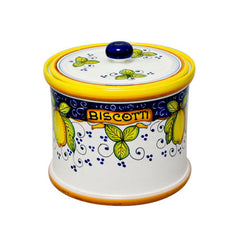 Deruta 'Alcantara' cookie jar with lemons