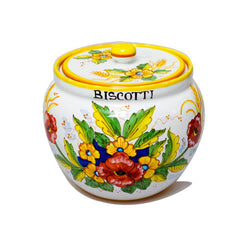 Deruta Cookie Jar with Poppies & Ears