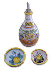 Deruta Raffaellesco Olive Oil Decanter with Dipping Bowls
